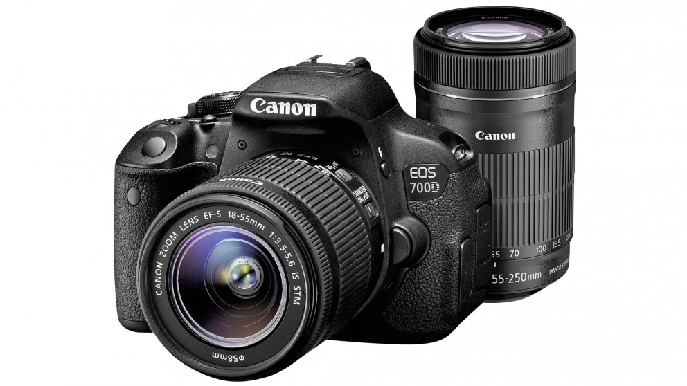 Canon EOS 700D Digital SLR Camera with 18-55mm & 55-250mm Movie ...