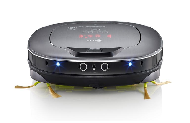 Front view of the LG robotic vacuum with lights on