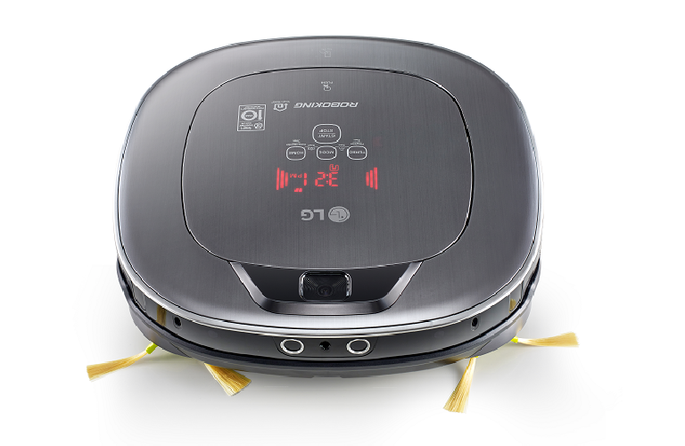 Top view of the LG robotic vacuum with control panel and mounted camera